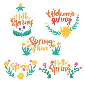 Ręcznie rysowane zestaw etykiet wiosna