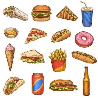 Ręcznie rysowane zestaw fast food