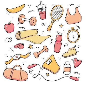 Ręcznie rysowane zestaw fitness, sprzęt do ćwiczeń, koncepcja stylu życia. doodle styl szkicu. zestaw elementów sportowych
