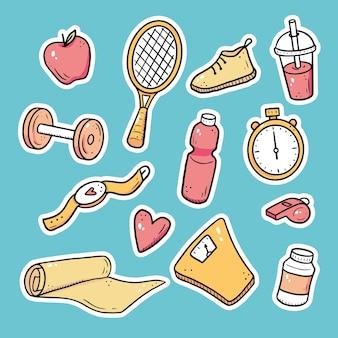 Ręcznie rysowane zestaw fitness, sprzęt do ćwiczeń, naklejki stylu życia. doodle styl szkicu. zestaw elementów sportowych