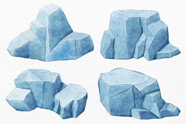 Ręcznie rysowane zestaw góry lodowej