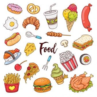 Ręcznie rysowane zestaw gryzmoły kolorów żywności