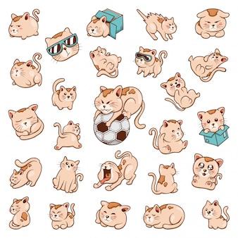 Ręcznie rysowane zestaw gryzmoły ładny kot śmieszne