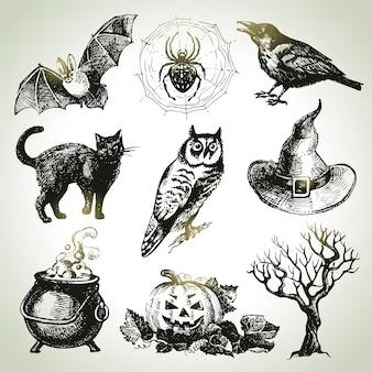 Ręcznie rysowane zestaw halloween