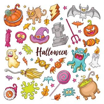 Ręcznie rysowane zestaw halloweenowych doodli
