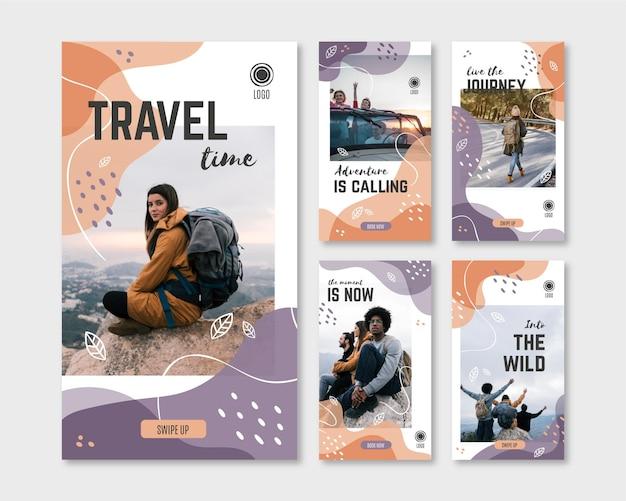 Ręcznie rysowane zestaw historii podróży na instagramie