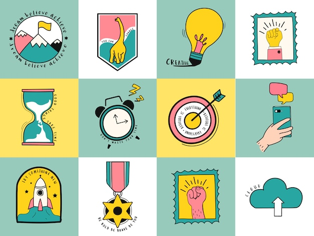 Ręcznie rysowane zestaw idei i biznesu symboli ilustracja