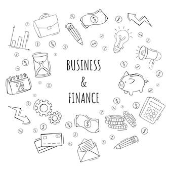 Ręcznie rysowane zestaw ikon biznesu i finansów w stylu bazgroły