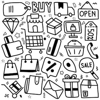 Ręcznie rysowane zestaw ikon e-commerce