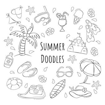 Ręcznie rysowane zestaw ikon lato w stylu bazgroły