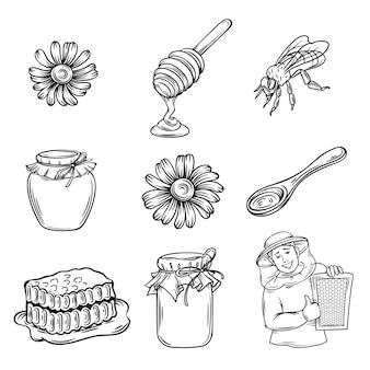 Ręcznie rysowane zestaw ikon miodu.
