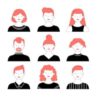 Ręcznie rysowane zestaw ikon różnych profili