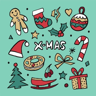 Ręcznie rysowane zestaw ikon świątecznych