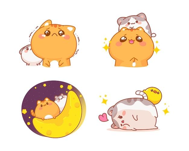 Ręcznie rysowane zestaw ilustracji kreskówka słodkie koty