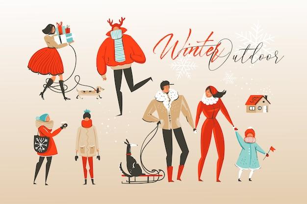 Ręcznie rysowane zestaw ilustracji kreskówka streszczenie wesołych świąt i szczęśliwego nowego roku