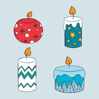 Ręcznie rysowane zestaw ilustracji świątecznych świec