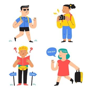 Ręcznie Rysowane Zestaw Ilustracji Turystów Darmowych Wektorów