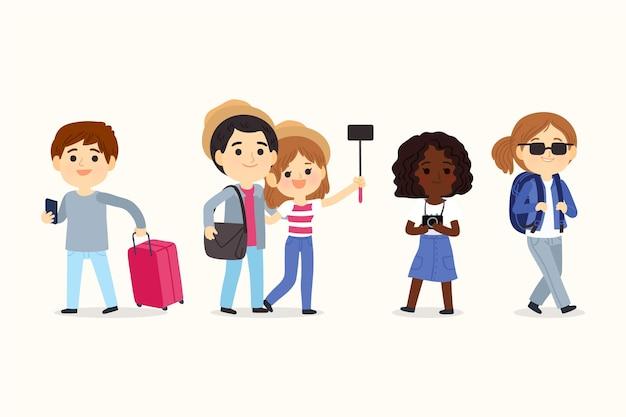 Ręcznie rysowane zestaw ilustracji turystów