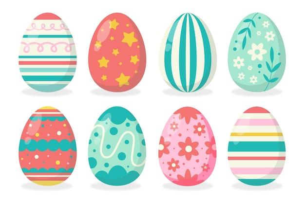 Ręcznie rysowane zestaw jaj wielkanocnych