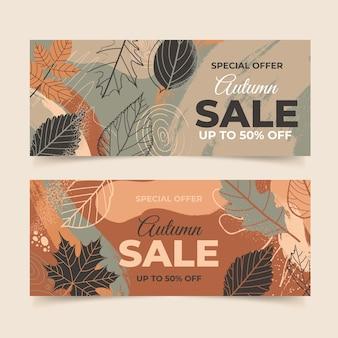 Ręcznie rysowane zestaw jesiennych poziomych banerów sprzedaży