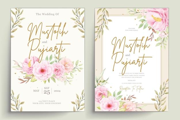 Ręcznie rysowane zestaw kart akwarela kwiatowy zaproszenie
