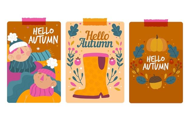 Ręcznie rysowane zestaw kart jesień
