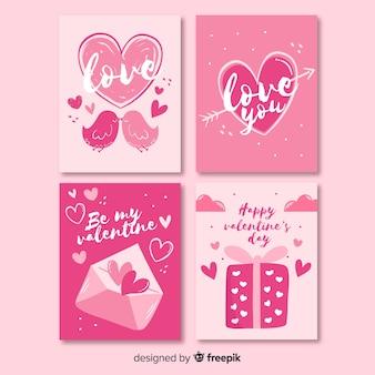 Ręcznie rysowane zestaw kart walentynki