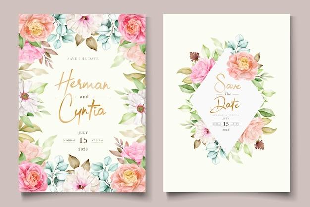 Ręcznie rysowane zestaw kart zaproszenie na ślub kwiatowy