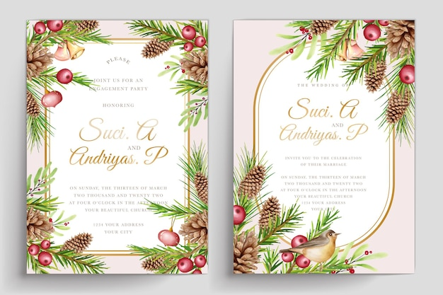 Ręcznie rysowane zestaw kartek z zaproszeniem na boże narodzenie