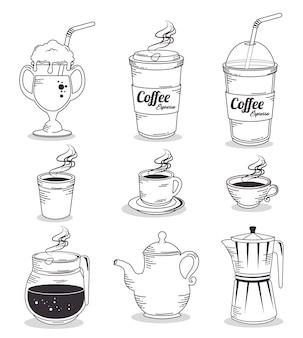 Ręcznie rysowane zestaw kawy