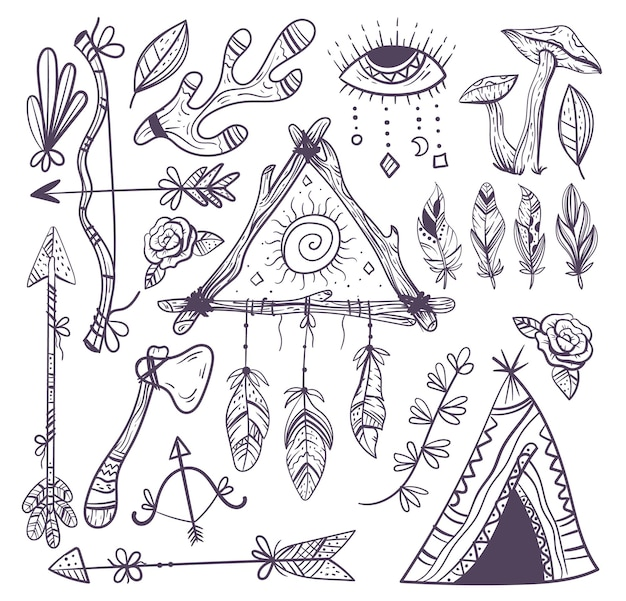 Ręcznie rysowane zestaw kolekcji ezoterycznych elementów boho