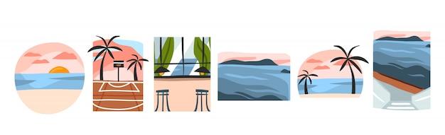 Ręcznie rysowane zestaw kolekcji ilustracji z widokami sceny letniej plaży, zachodu słońca, kawiarni restauracyjnej i boiska do koszykówki na białym tle