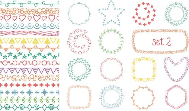 Ręcznie rysowane zestaw kolorowych pędzli dekoracyjnych.