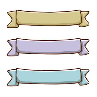 Ręcznie rysowane zestaw kolorowych wstążek