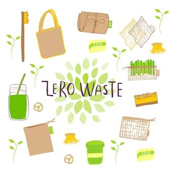 Ręcznie rysowane zestaw koncepcji zero odpadów. żadnych plastikowych elementów eko życia: papieru wielokrotnego użytku, bambusa, drewna, toreb z tkaniny bawełnianej, szkła, słoików, sztućców. wektor idź zielony, bio logo lub znak. szablon projektu ekologicznego