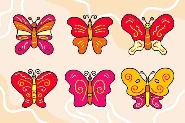 Ręcznie rysowane zestaw konturów motyla