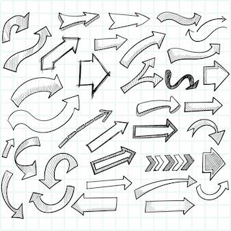 Ręcznie rysowane zestaw kreatywnych strzałek kierunkowych
