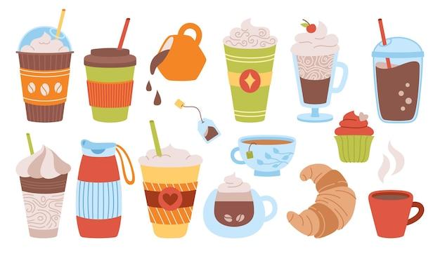 Ręcznie rysowane zestaw kreskówek z filiżanką kawy