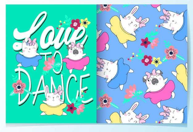 Ręcznie rysowane zestaw ładny kot, królik i mops