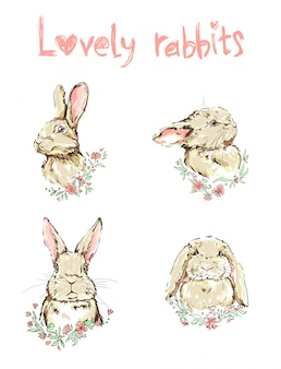 Ręcznie rysowane zestaw ładny królik