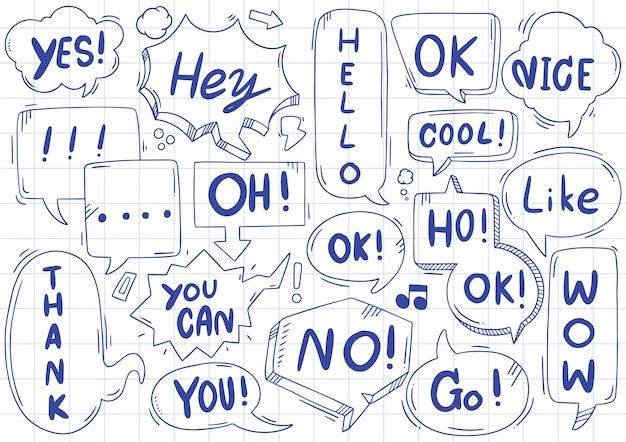 Ręcznie rysowane zestaw ładny mowy bańka eith tekst w stylu bazgroły