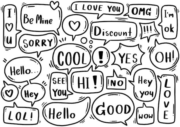 Ręcznie rysowane zestaw ładny mowy bańka eith tekst w stylu doodle