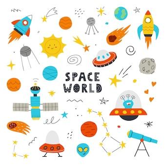 Ręcznie rysowane zestaw ładny przestrzeń. ilustracja wektorowa. koncepcja druku dla dzieci. planety, kosmici, rakiety, ufo, gwiazdy na białym tle.