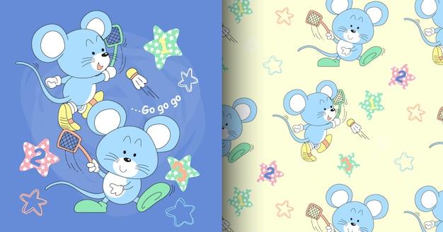 Ręcznie rysowane zestaw ładny wzór myszy