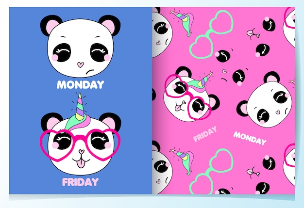 Ręcznie rysowane zestaw ładny wzór panda