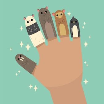 Ręcznie rysowane zestaw lalek na palec