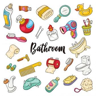 Ręcznie rysowane zestaw łazienka gryzmoły w kolorach