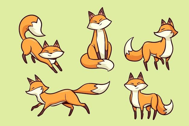 Ręcznie rysowane zestaw lisa
