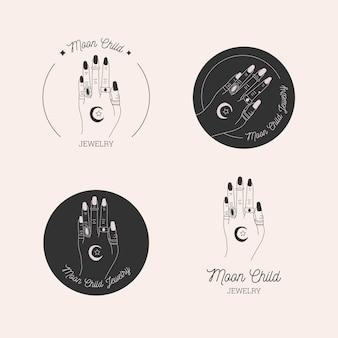 Ręcznie rysowane zestaw logo biżuterii