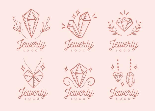 Ręcznie Rysowane Zestaw Logo Biżuterii Darmowych Wektorów